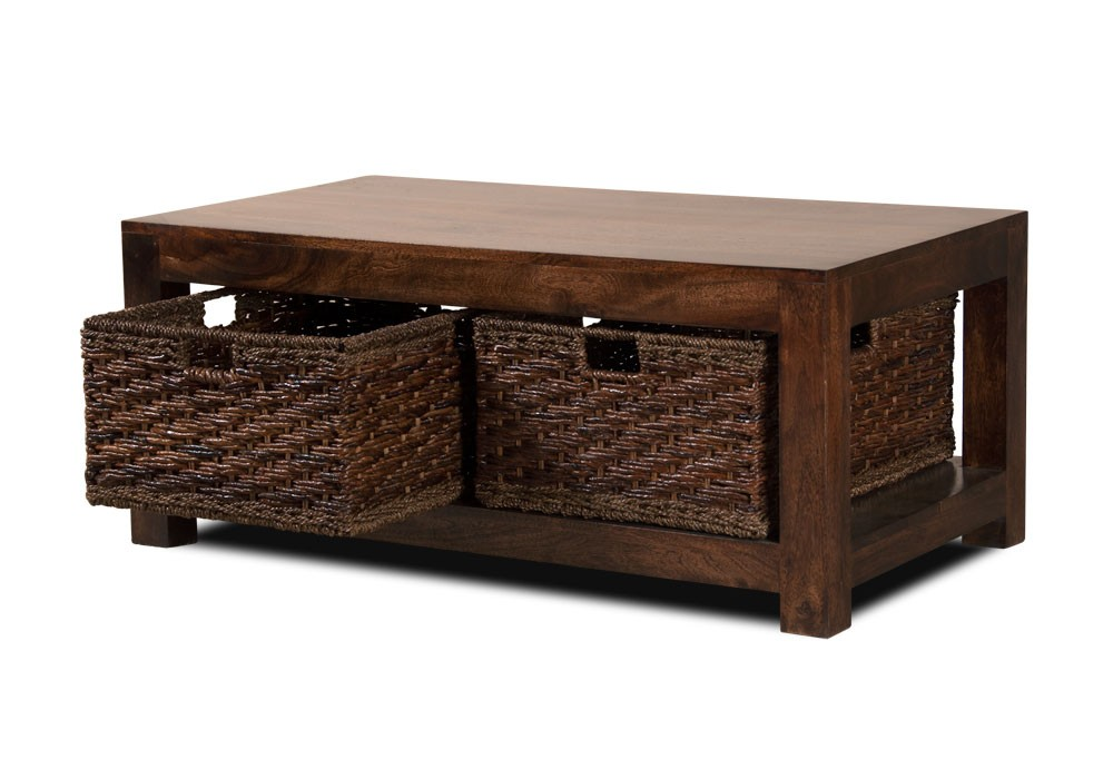 Dakota Dark Mango Coffee Table With Baskets