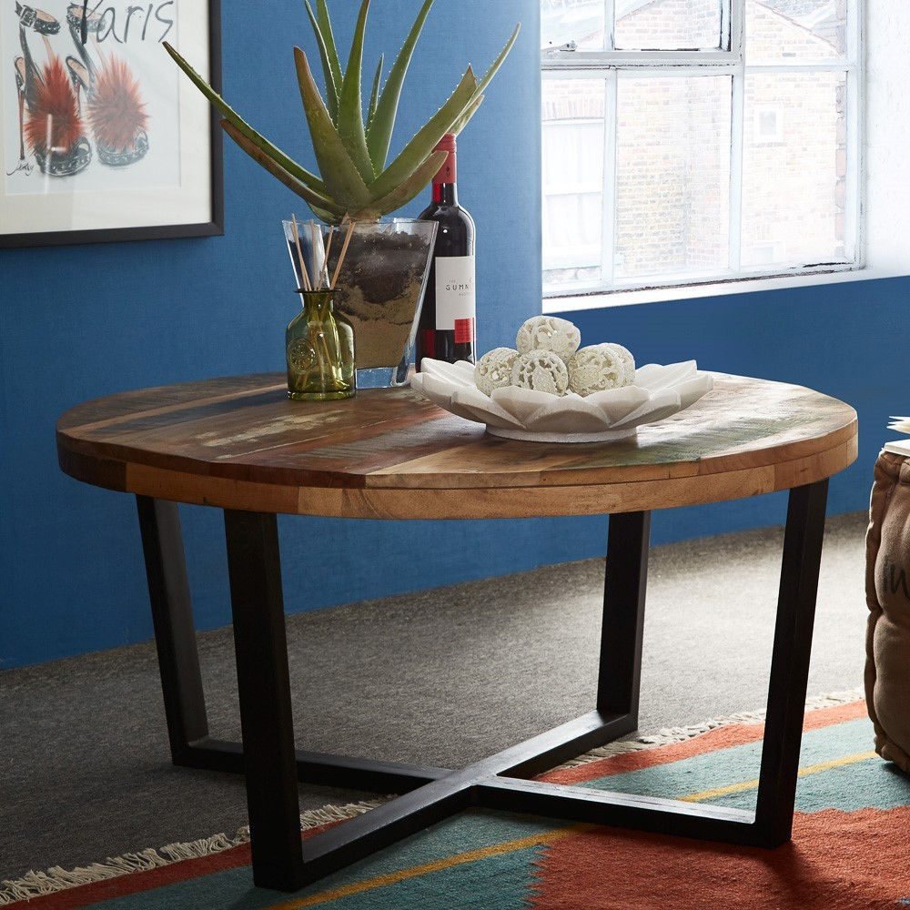 reclaimed indian round coffee table | casa bella furniture uk