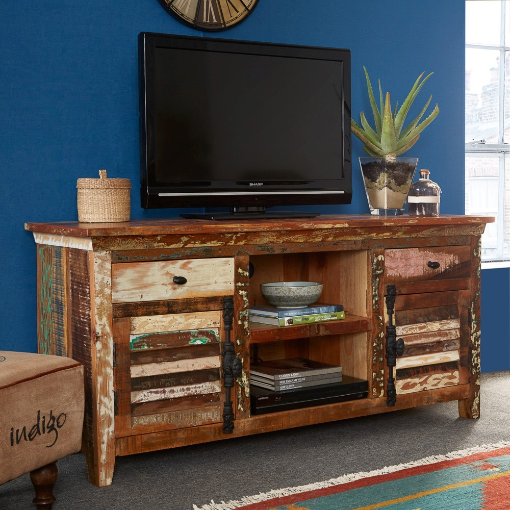 Reclaimed Indian Large Media Cabinet Casa Bella Furniture Uk