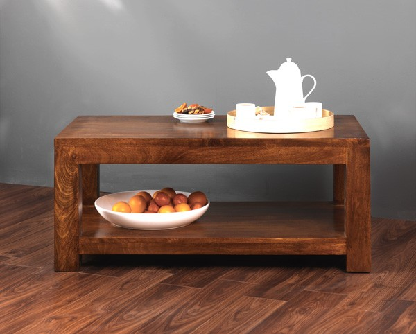 Solid Mango Wood Coffee Table With Shelf