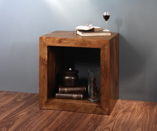 Dakota Mango Cube Side Table Casa Bella Furniture Uk