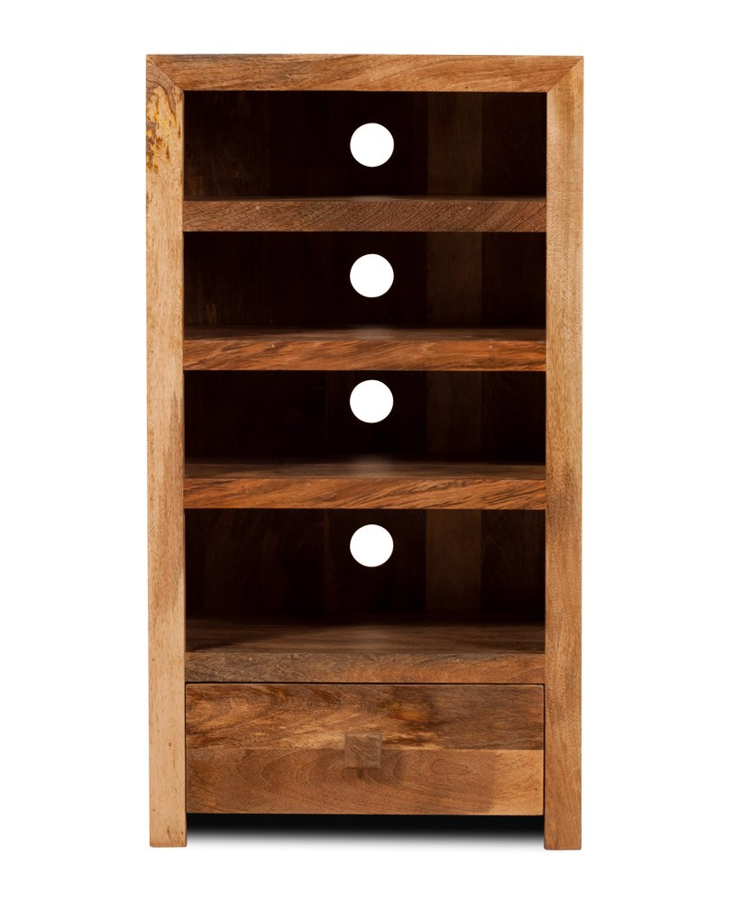 Hi Fi Shelving Unit Solid Indian Mango Wood Tall Bookcase  # Hifi Furniture Wood High Quality