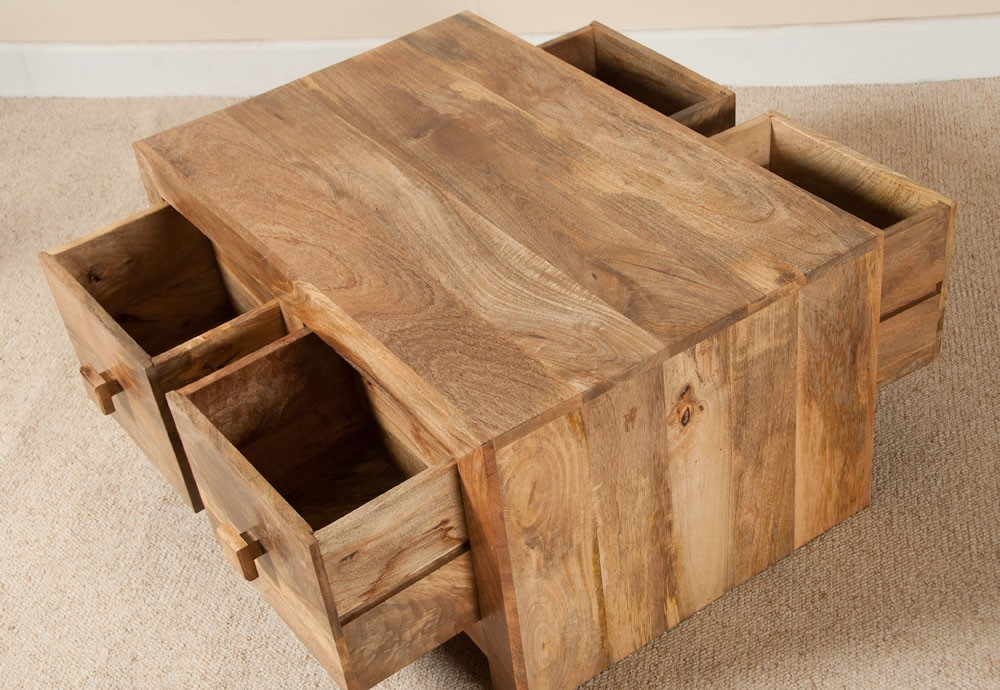 Mango Wood  Drawer Coffee Table  Honey and Walnut Table  Casa