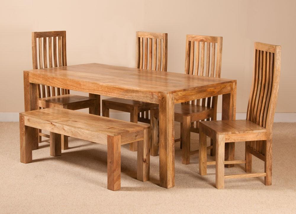Dakota Light Mango 6 Seater Dining Set With Bench Casa