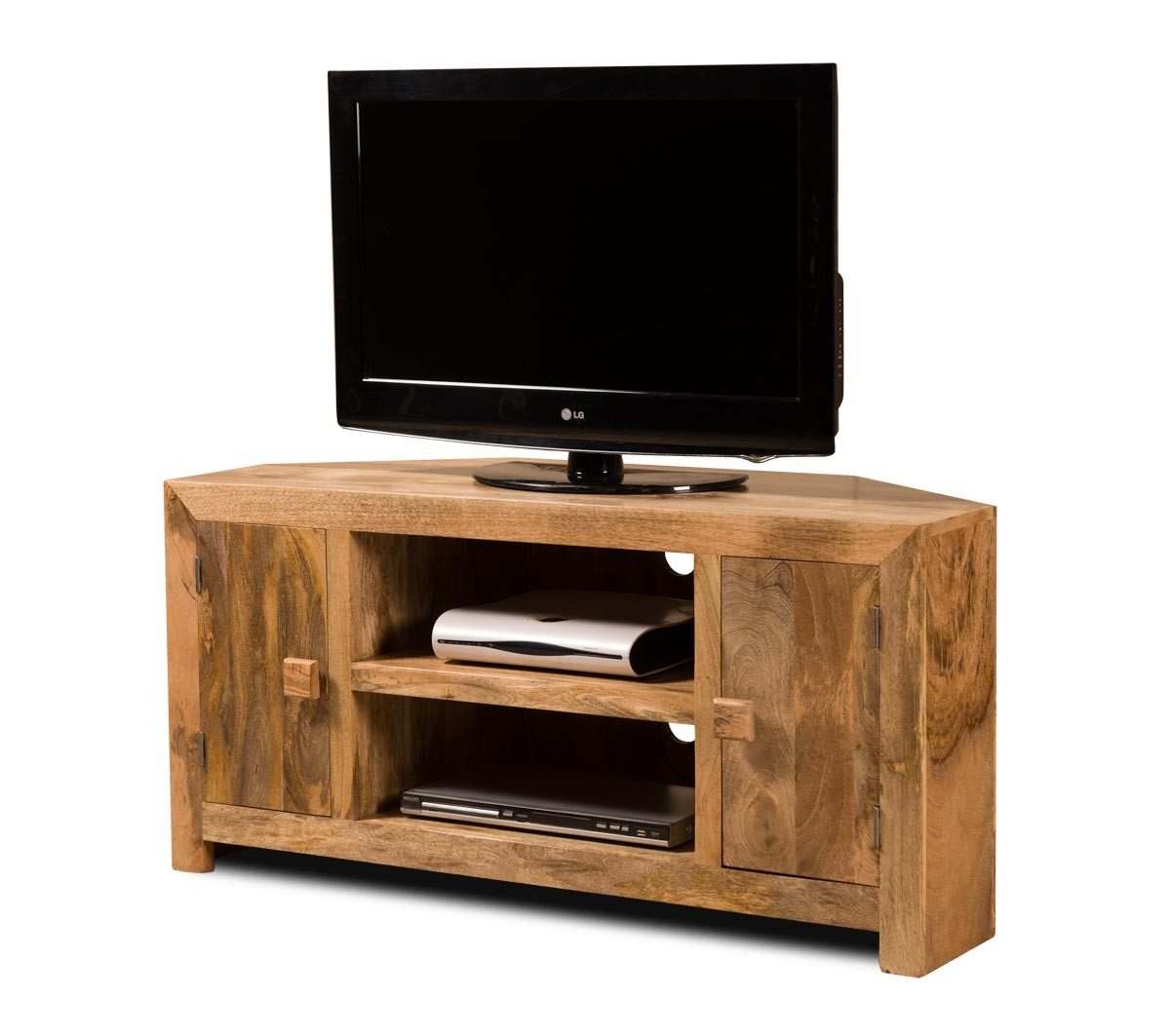 Dakota Light Mango Large Corner Tv Unit Casa Bella Furniture Uk # Meuble Tv Cache Cable