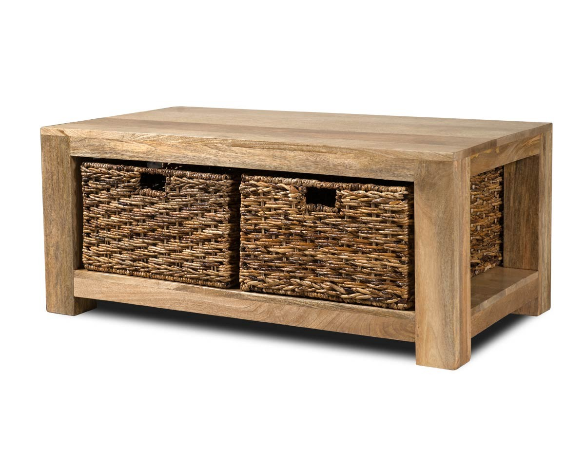 Dakota Light Mango Large Coffee Table With Baskets