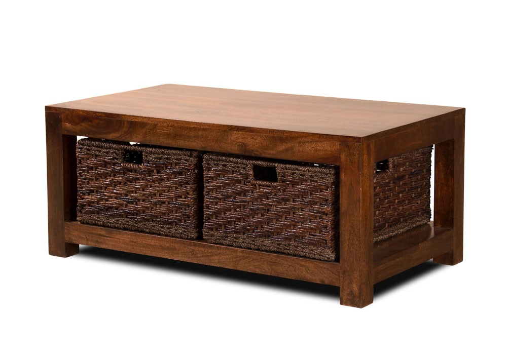 Dakota Mango Large Coffee Table With Baskets Dark Casa Bella Furniture Uk