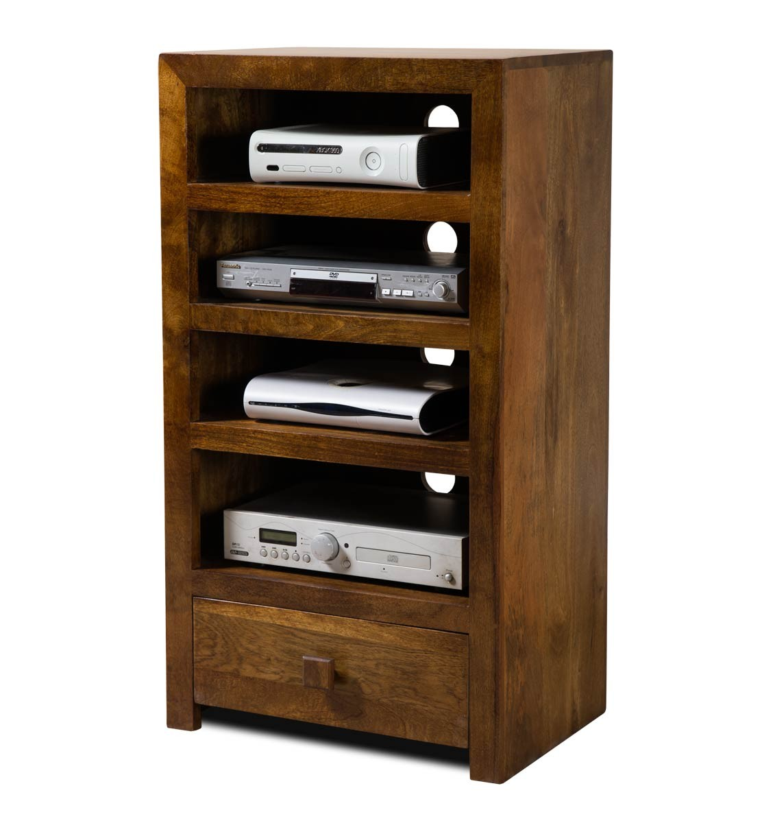 Solid mango wood hi fi shelving unit tall casa bella for Furniture uk