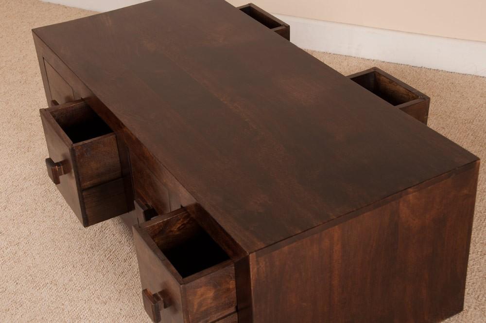dark walnut stain mango wood 8 drawer coffee table | casa bella