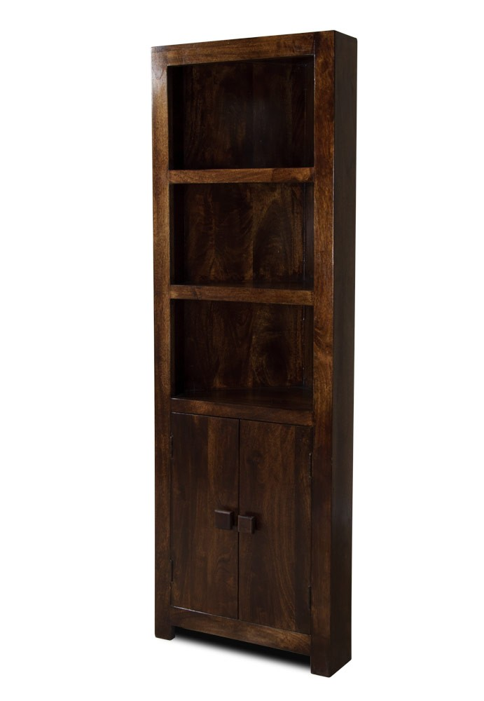 Dakota Dark Mango Corner Bookcase - Handcrafted Bookcases Casa Bella Furniture UK