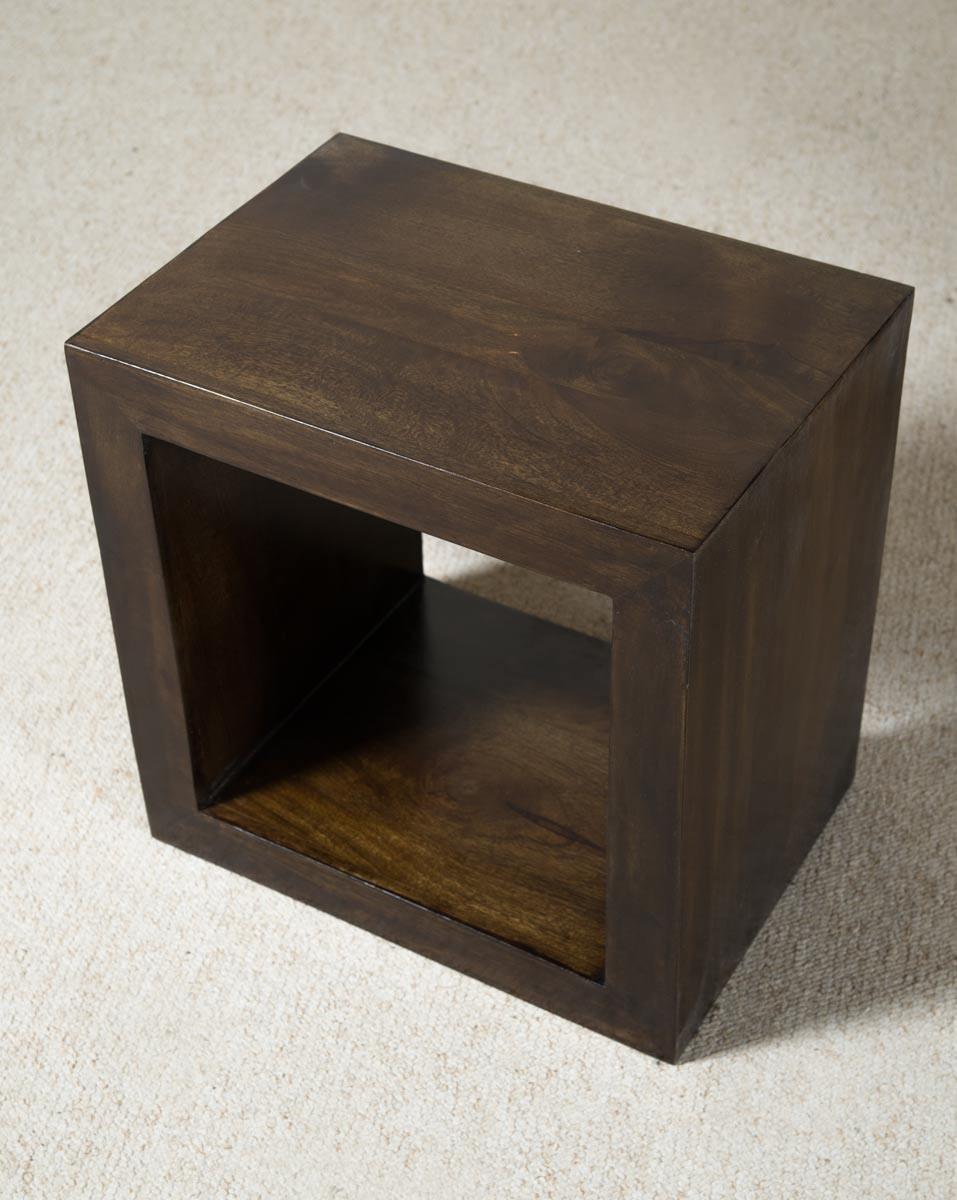dakota dark mango cube side table casa bella furniture uk. Black Bedroom Furniture Sets. Home Design Ideas