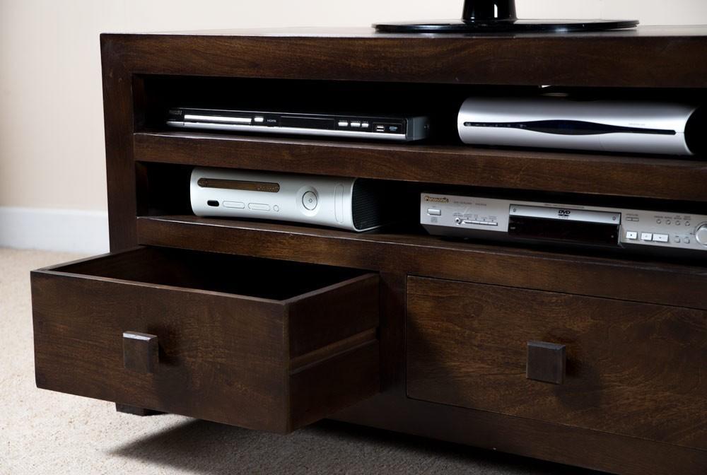 Dakota Dark Mango Large  Drawer TV Unit  Casa Bella Furniture UK