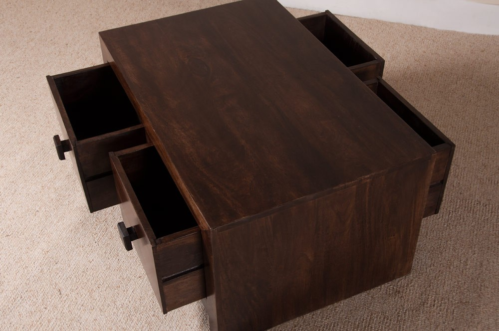Dakota Dark Mango Small 4-Drawer Coffee Table