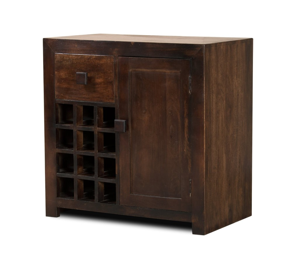 Dakota Dark Mango Wine Cabinet Casa Bella Furniture Uk