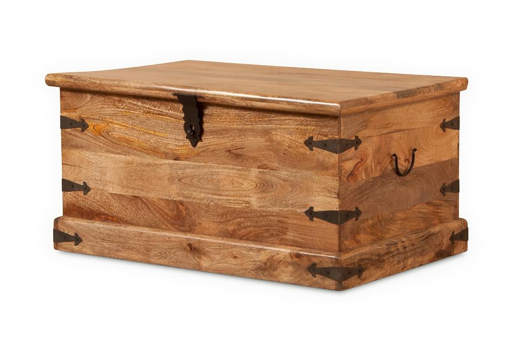 Natural Mango Wood Trunk  Chunky Coffee Table  Blanket Box