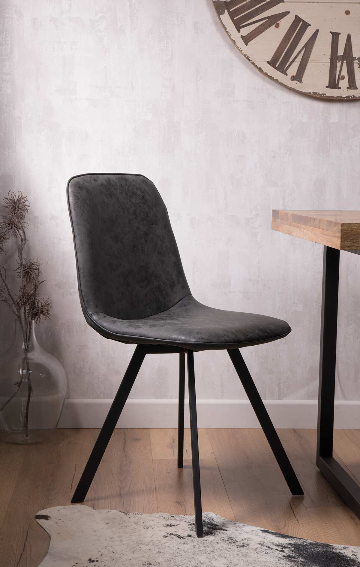 Pleasing Arizona Leather Dining Chair Charcoal Grey Gamerscity Chair Design For Home Gamerscityorg