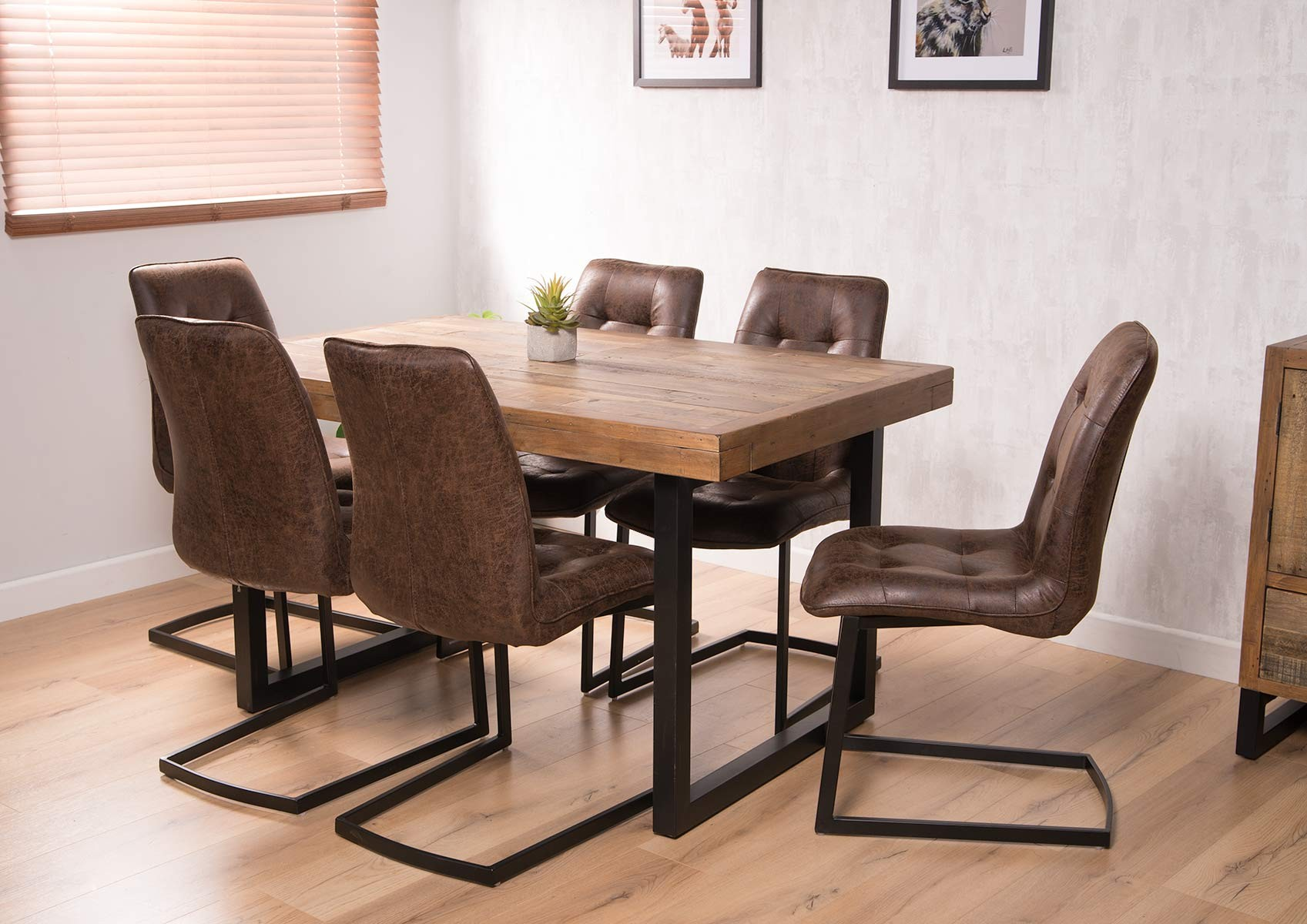 Aged Leather Cantilever Dining Chair Brown Casa Bella