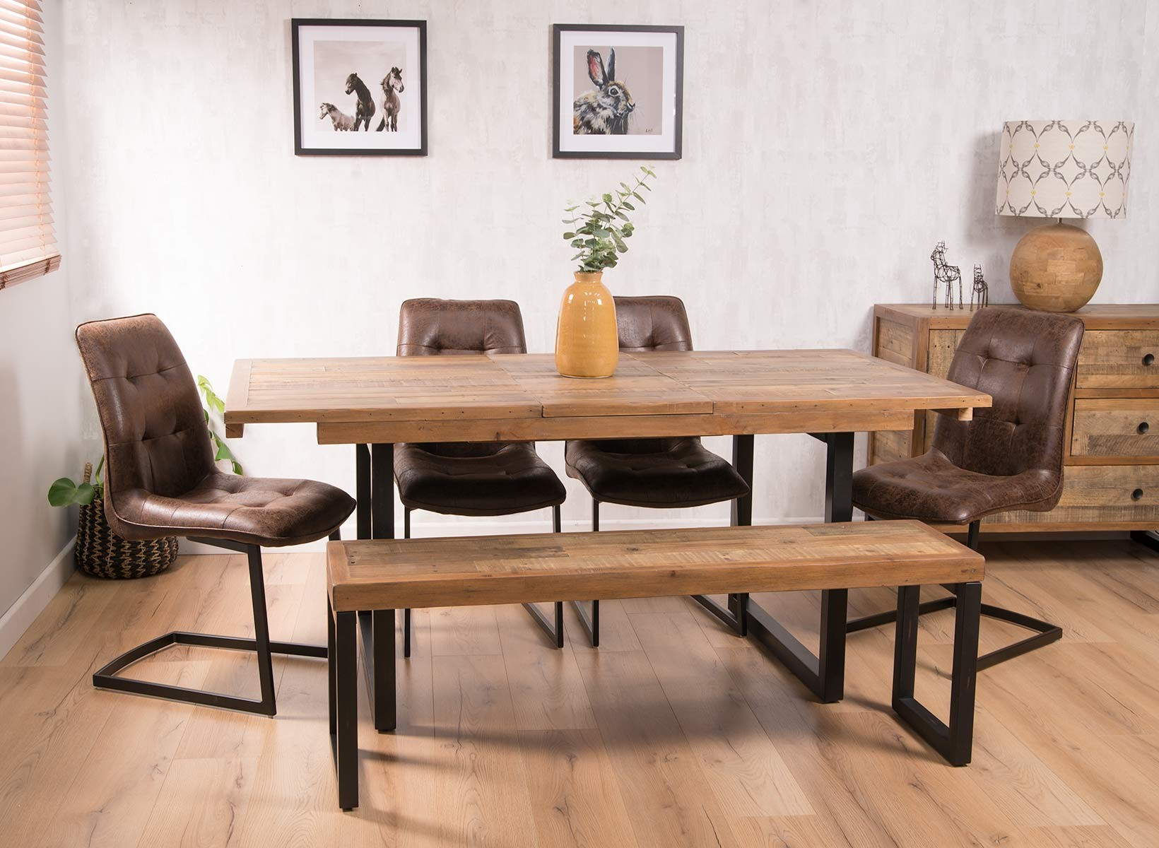 Industrial Reclaimed Extending 6 Seater Dining Set With Bench Cantilever Chairs Casa Bella Furniture Uk