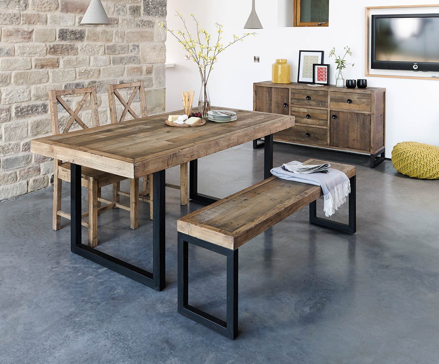 Brooklyn industrial extending dining table 180 240cm