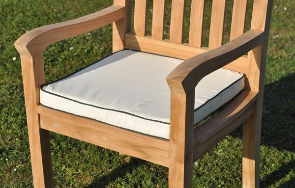 cotton chair cushion teak armchair foam seat pad casa bella