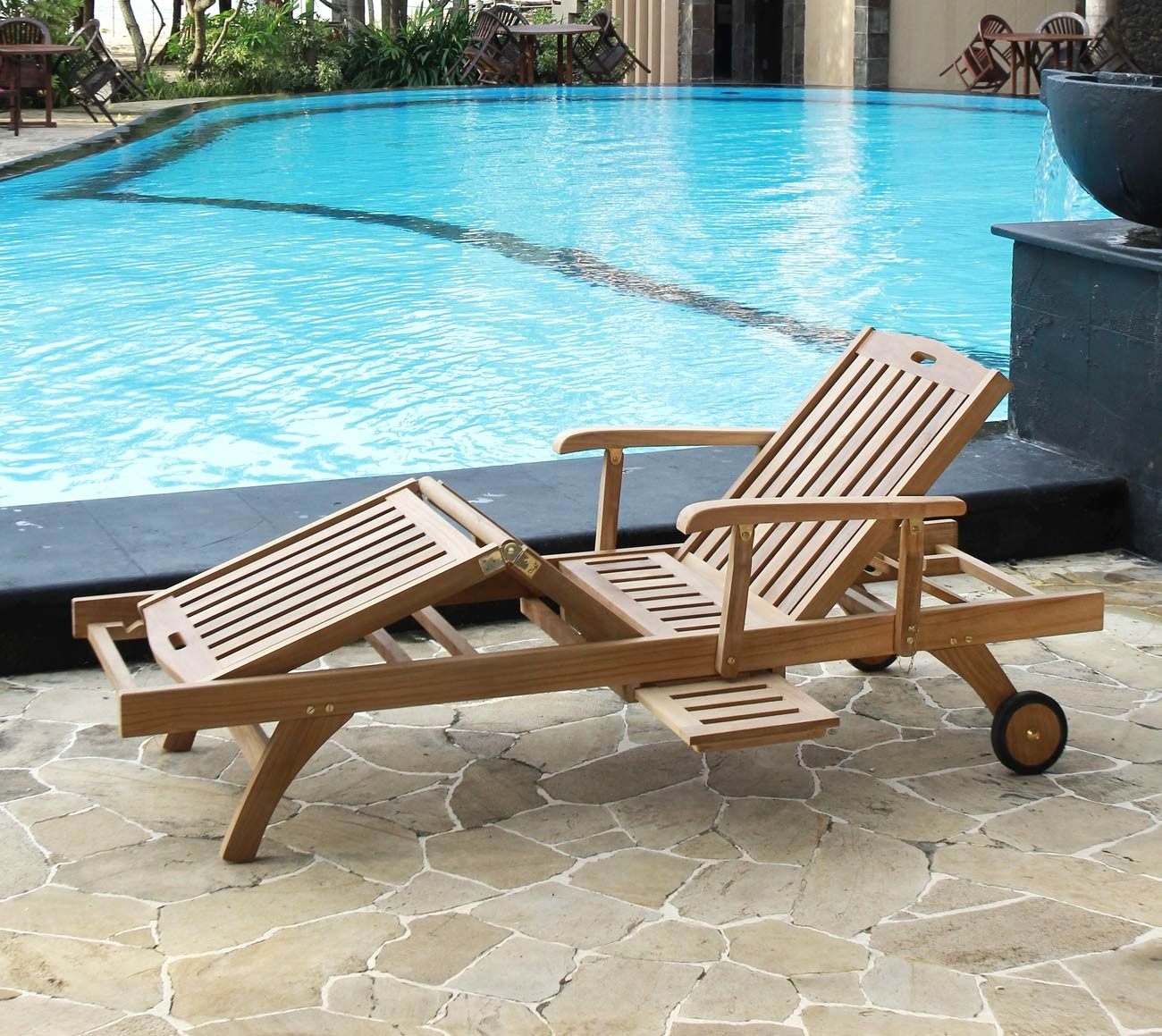 Solid Teak Adjustable Sun Lounger With Wheels 5 Year