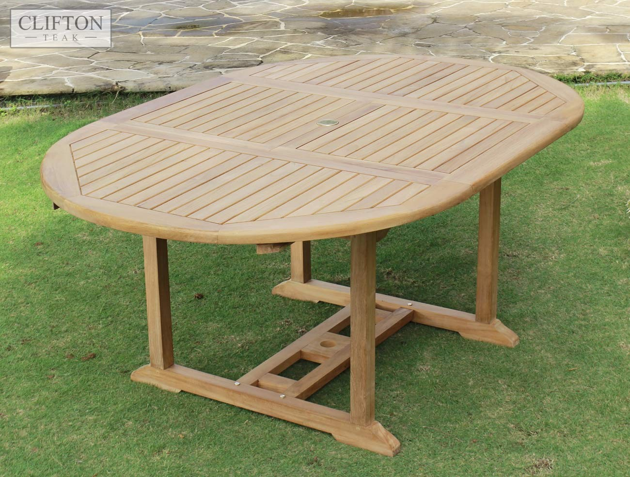 Devon Teak 1.2-1.7m Extending Table 1 & Teak Devon | 120 to 170cm Extending Table | Oval Garden Table | Casa ...