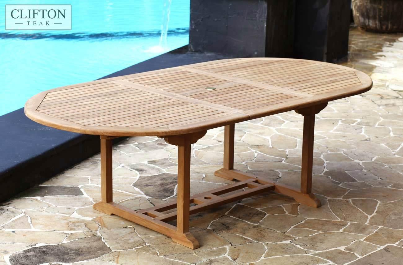 Teak Garden Table >> Solid Teak 1 8m 2 4m Extending Table