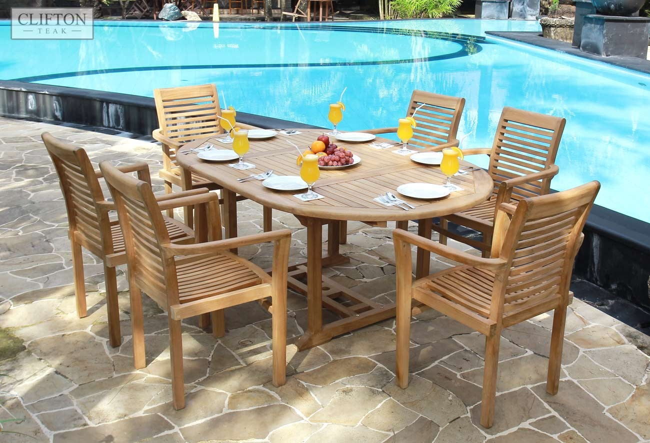 Teak devon 120 to 170cm extending table oval garden for Teak outdoor furniture