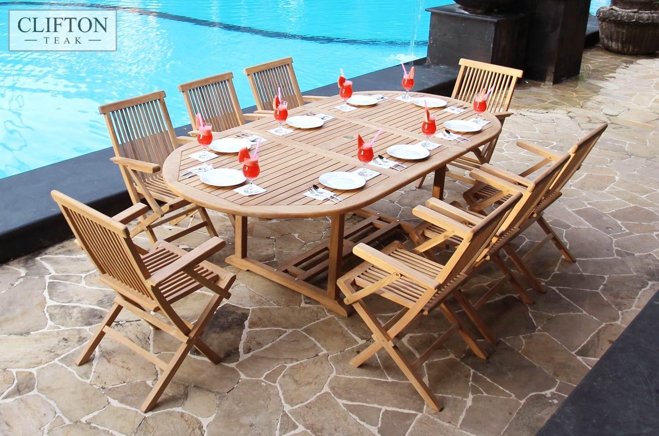 Extending Teak Set | 8 Seater | Fold Flat Chairs | Casa Bella ...