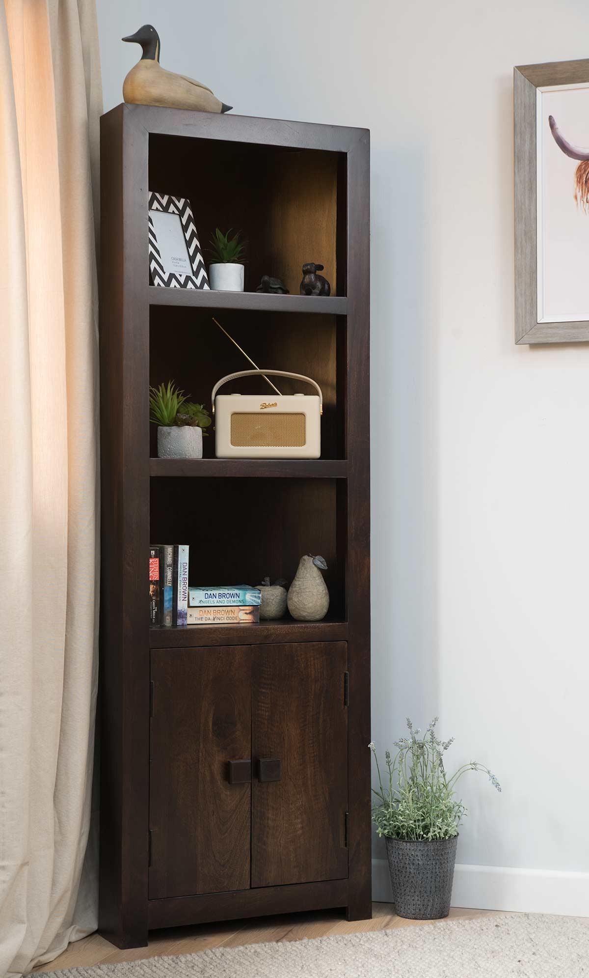 Dakota Dark Mango Corner Bookcase