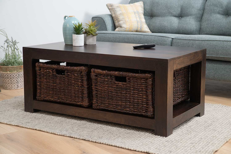 - Dakota Dark Mango Large Coffee Table With Baskets Casa Bella