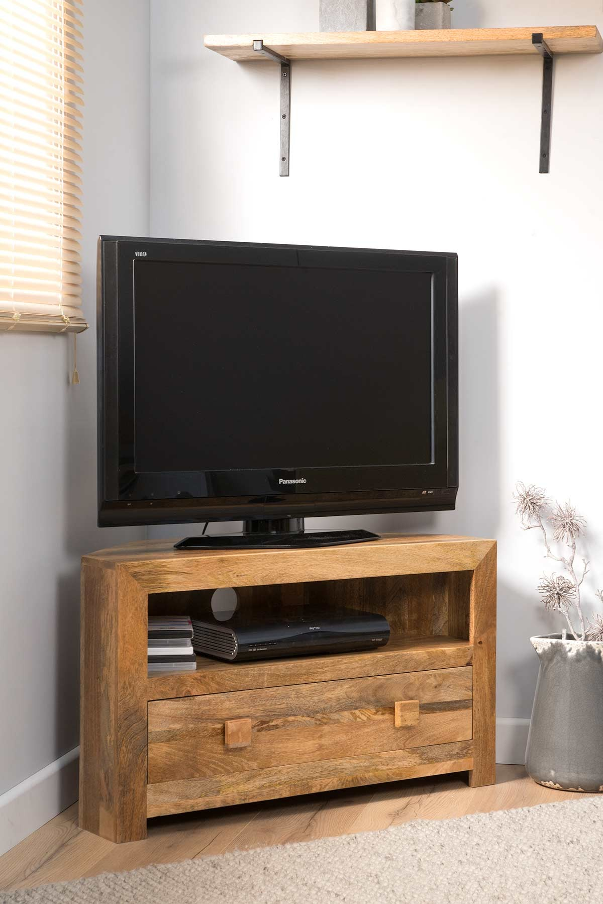 Dakota Light Mango Small Corner Tv Stand Casa Bella Furniture Uk