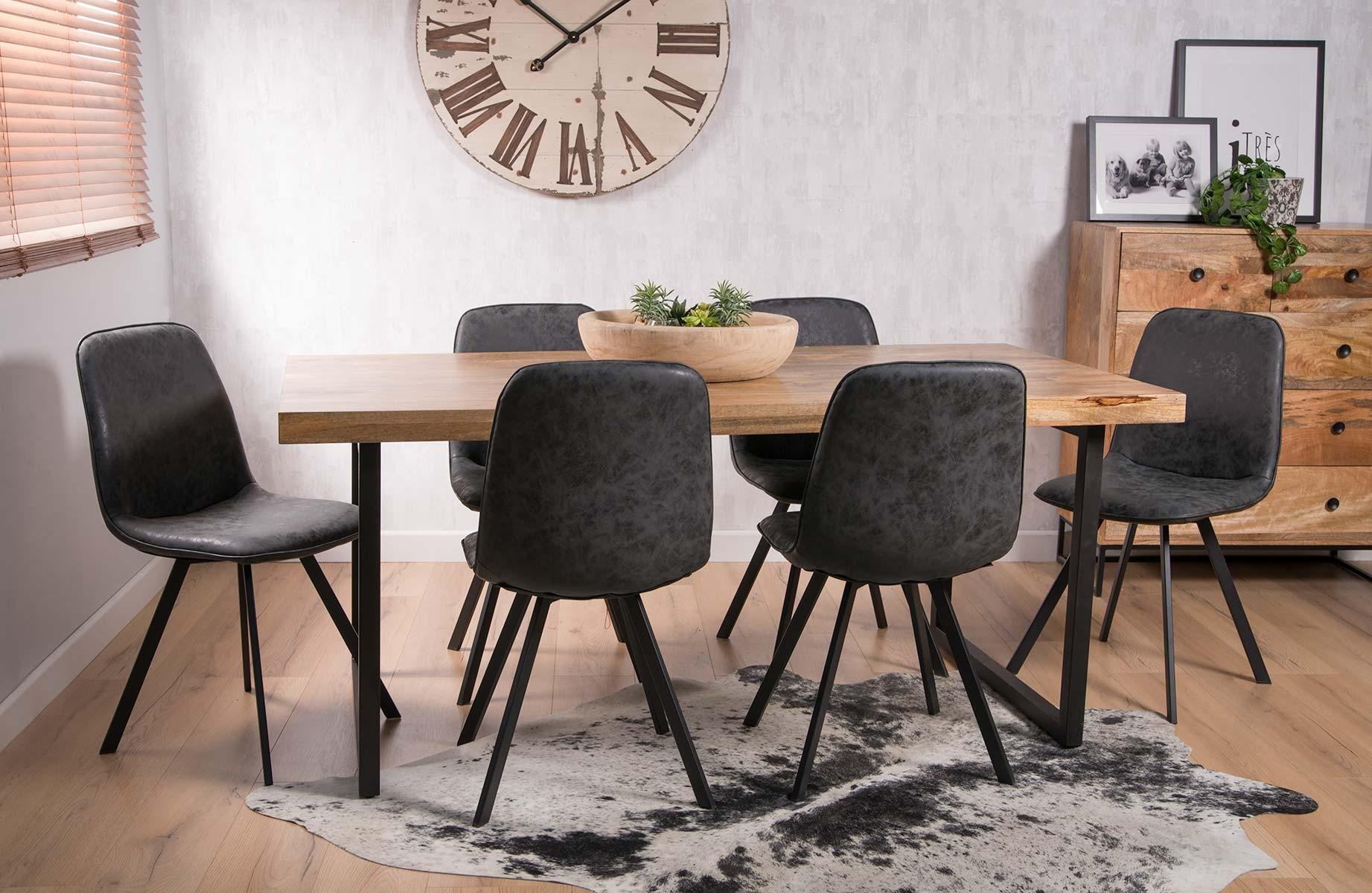Industrial 6 Seater Dining Set Charcoal Grey Leather Chairs Casa Bella Furniture Uk