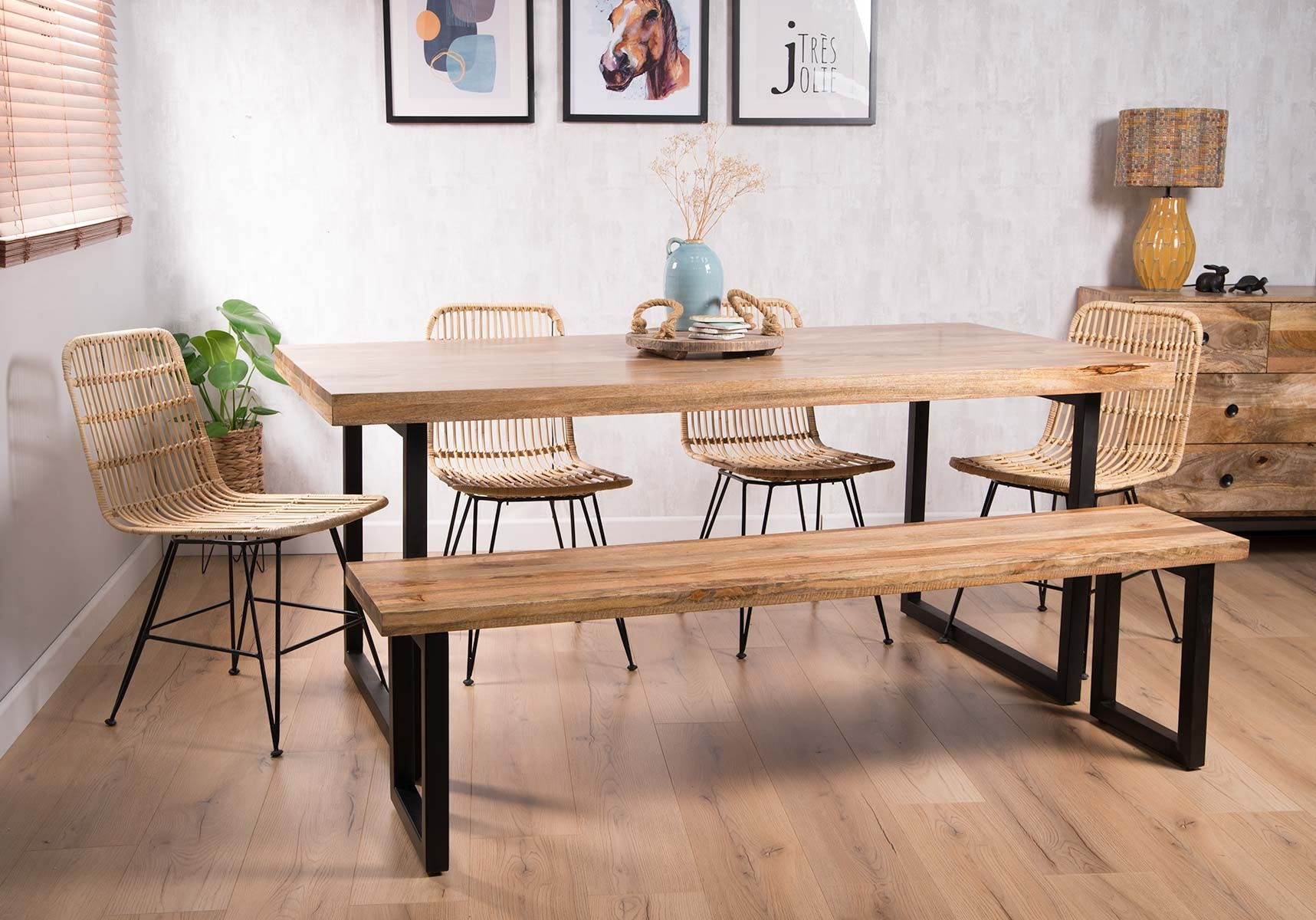 Natural Rattan 6 Seater Dining Set With Bench Industrial Mango Table Casa Bella Furniture Uk