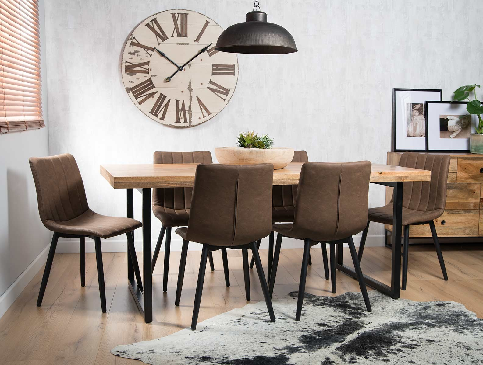 Prime Imari Industrial Mango 6 Seater Dining Set 150Cm Table Arizona Chairs Interior Design Ideas Ghosoteloinfo