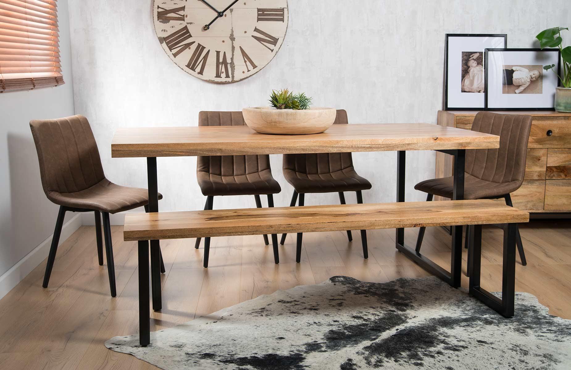Imari Industrial Mango 6 Seater Dining Bench Set Arizona Chairs