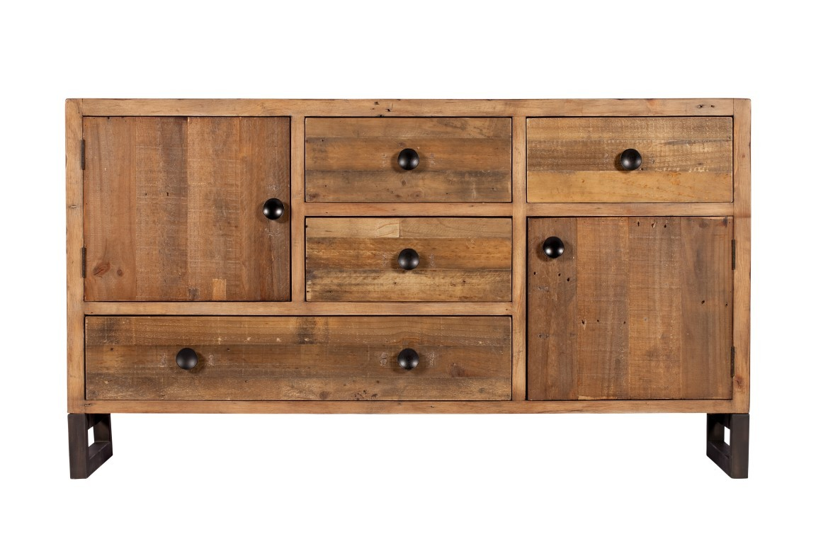 Brooklyn industrial wide sideboard reclaimed solid wood for Furniture uk
