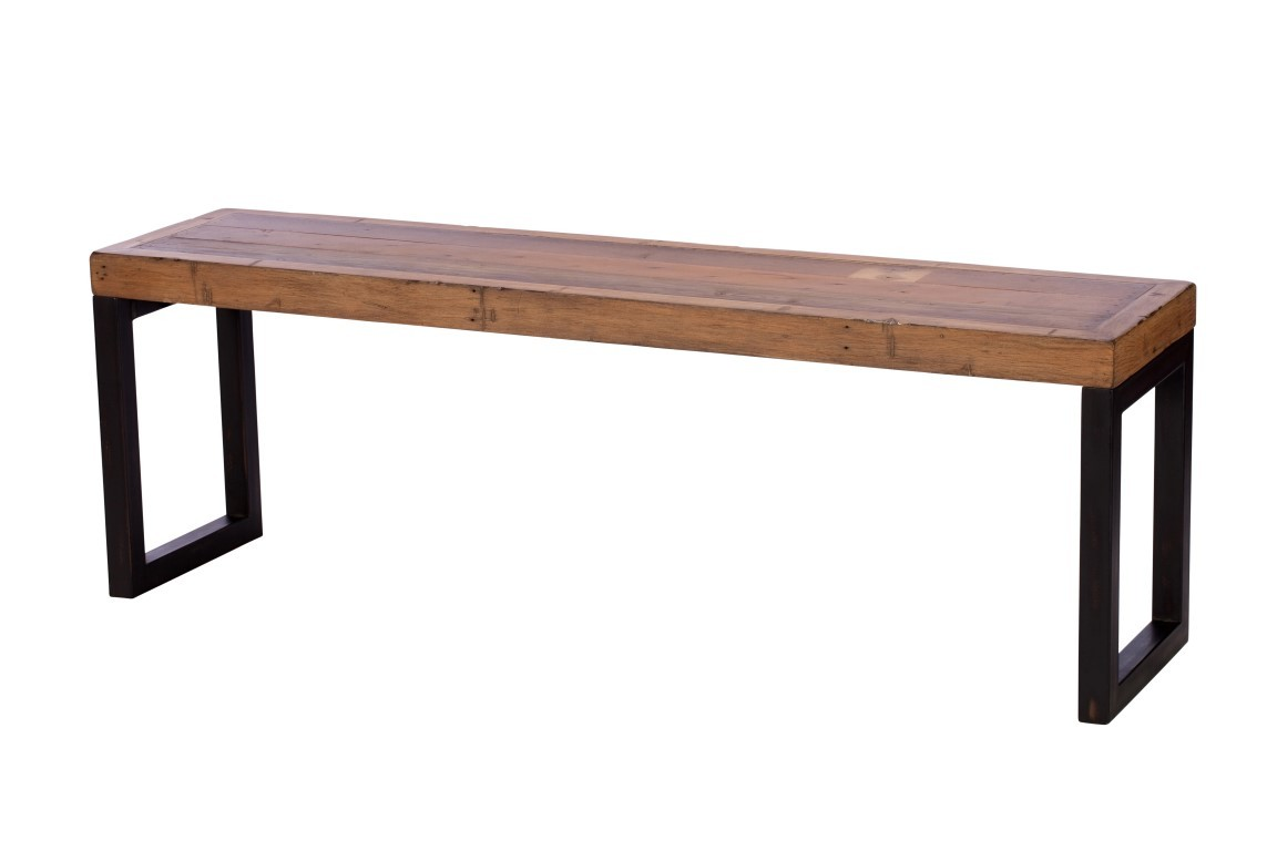 Brooklyn Industrial Bench 140cm Reclaimed Solid Wooden 180cm Casa Bella Furniture Uk