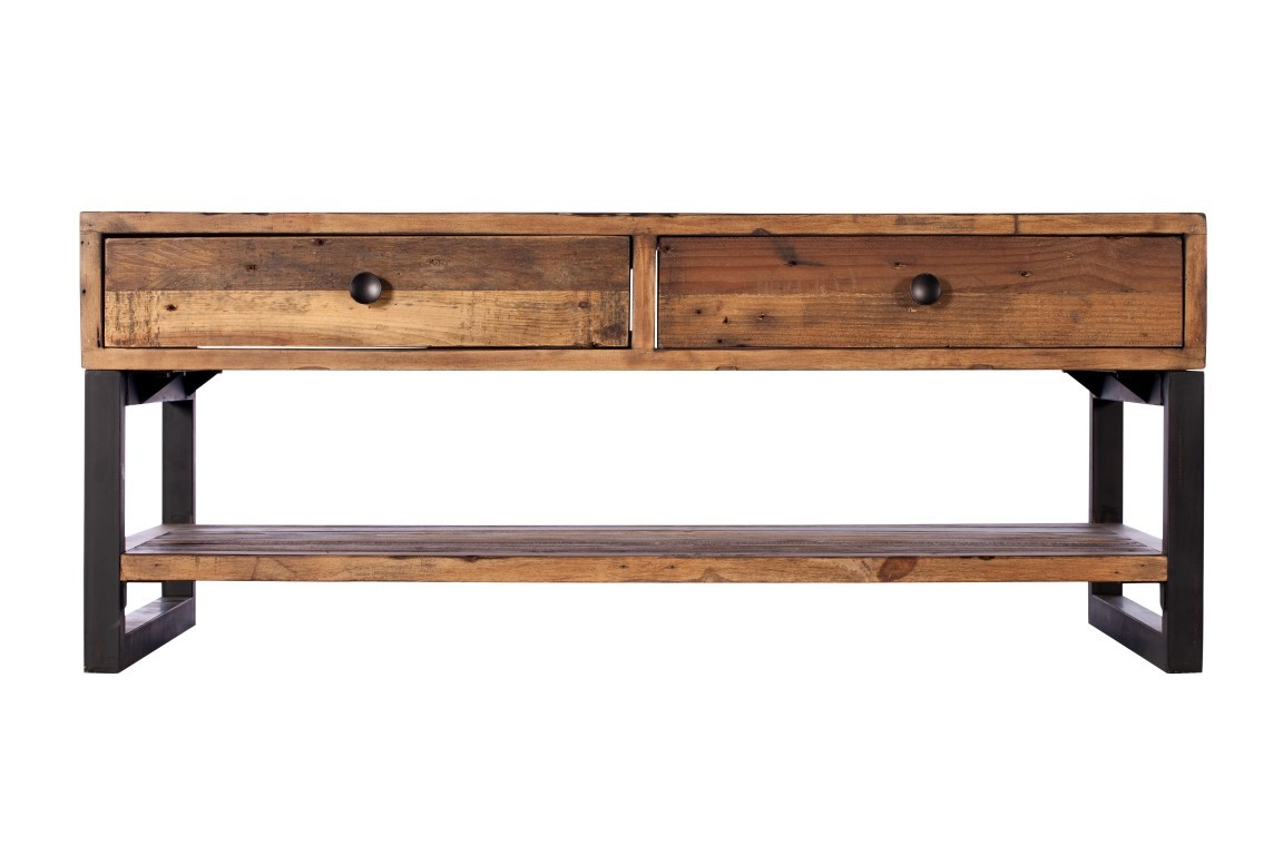 Brooklyn Industrial Coffee Table With Drawers Reclaimed Solid Wood Casa Bella Furniture Uk
