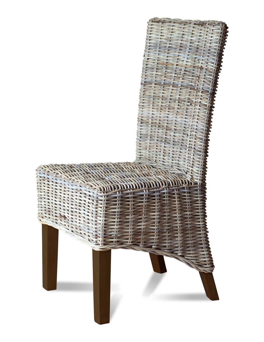 Kubu grey rattan dining chair dark casa bella furniture uk for Bamboo furniture uk
