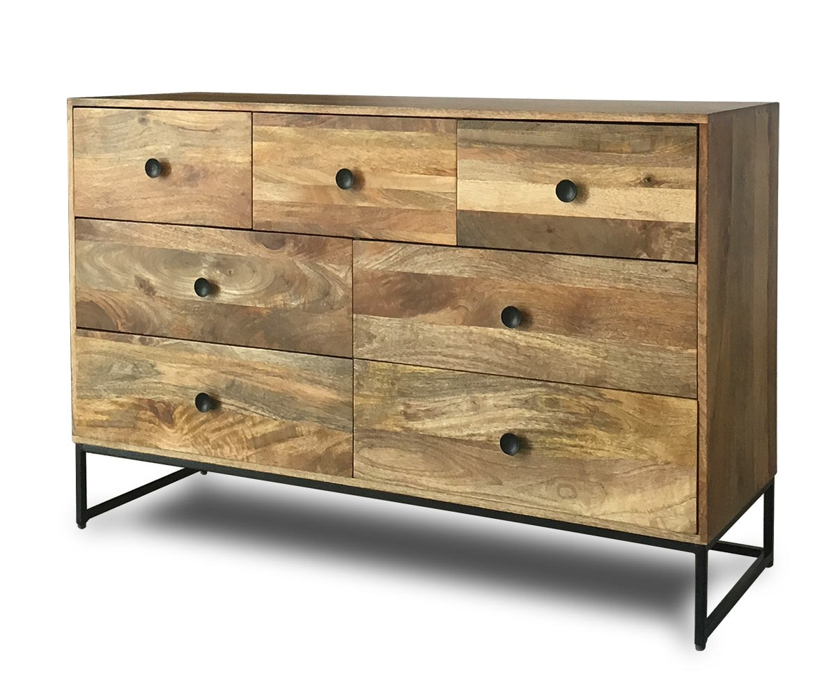 Wooden Chest Of Drawers: Imari Solid Mango Industrial Large Chest Of Drawers