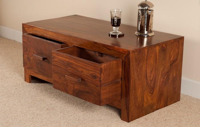 Sheesham Wood Coffee Table   Drawer Storage  Casa Bella