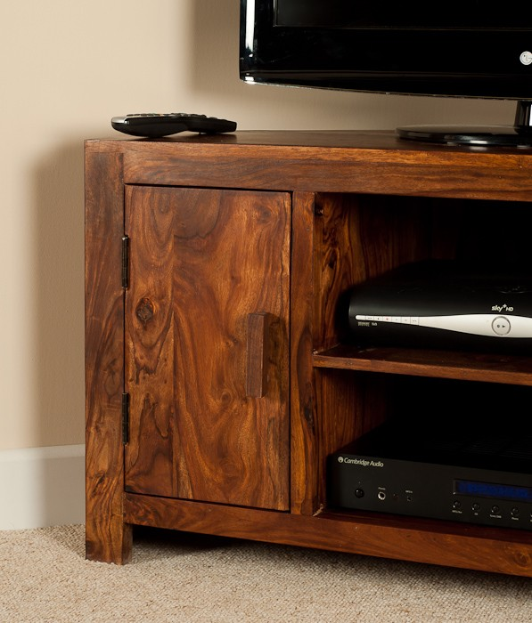 Solid sheesham wood television stand corner tv unit