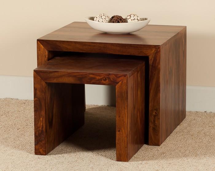 Solid wood nesting tables casa bella furniture uk