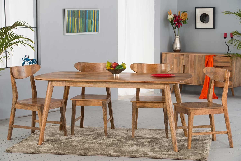 Retro Scandi Style Solid Wood 9 Seater Dining Set   Casa Bella ...