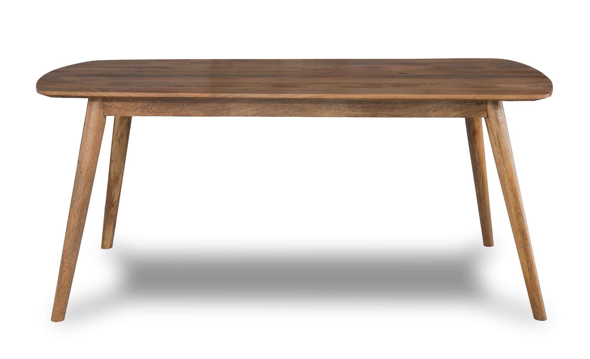 Solid Light Mango Wood Dining Table Retro Scandi Style