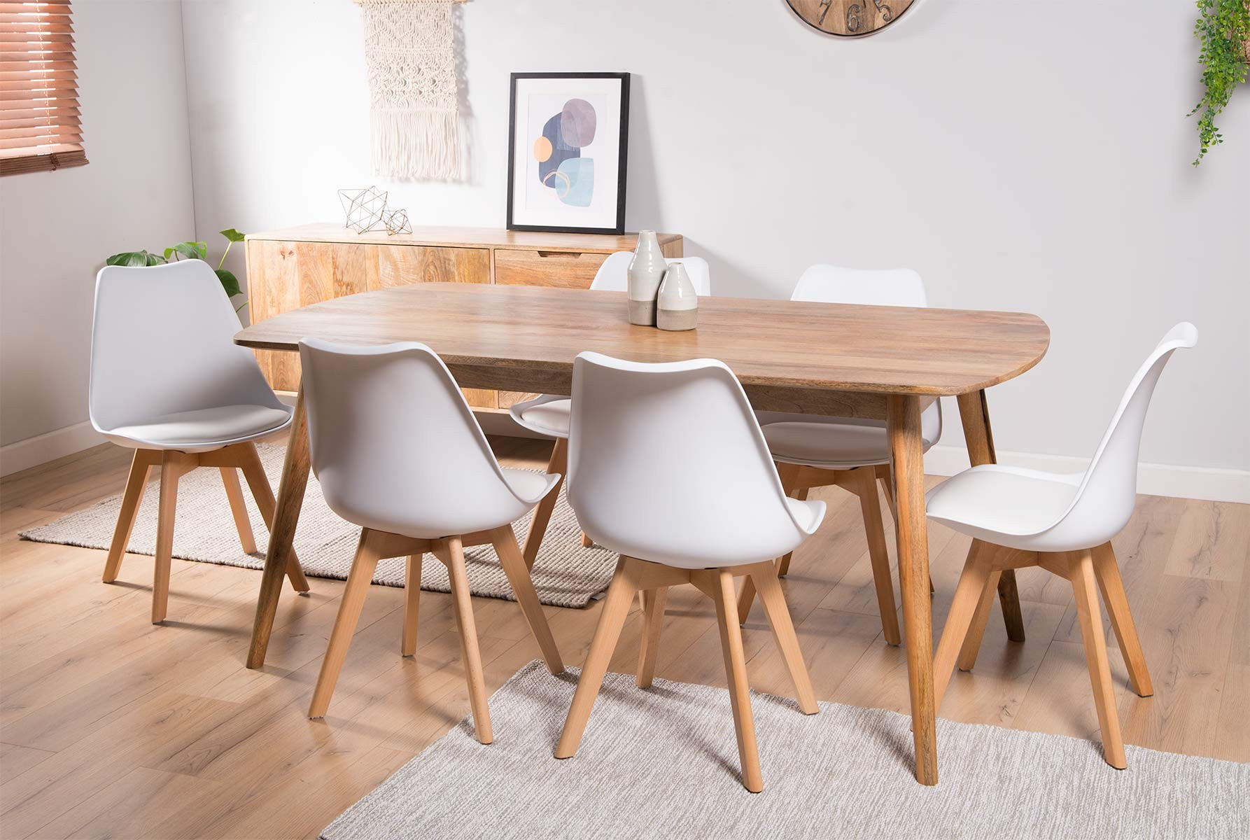 new concept 15a42 5a9cd Oslo Light Mango 6-Seater Dining Set - Scandi Chairs
