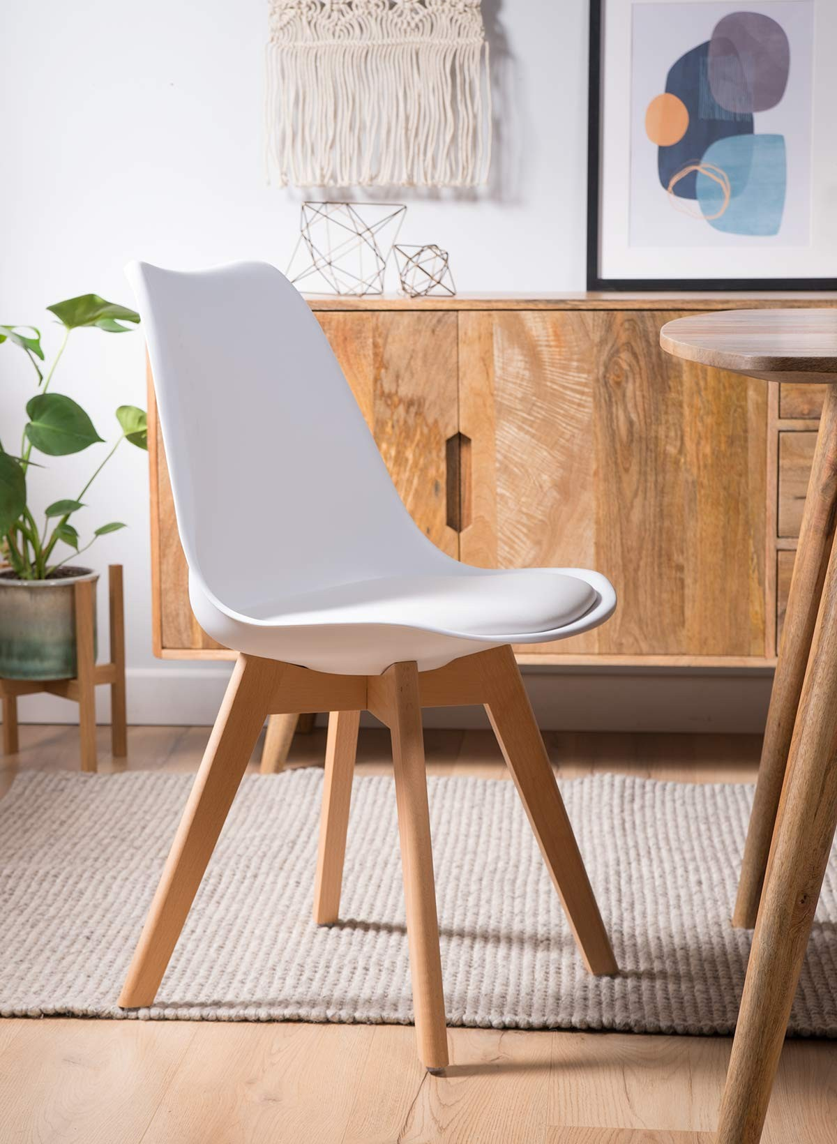 official photos 9e7dd 5cf31 Scandi Pyramid Dining Chair With Pad - White