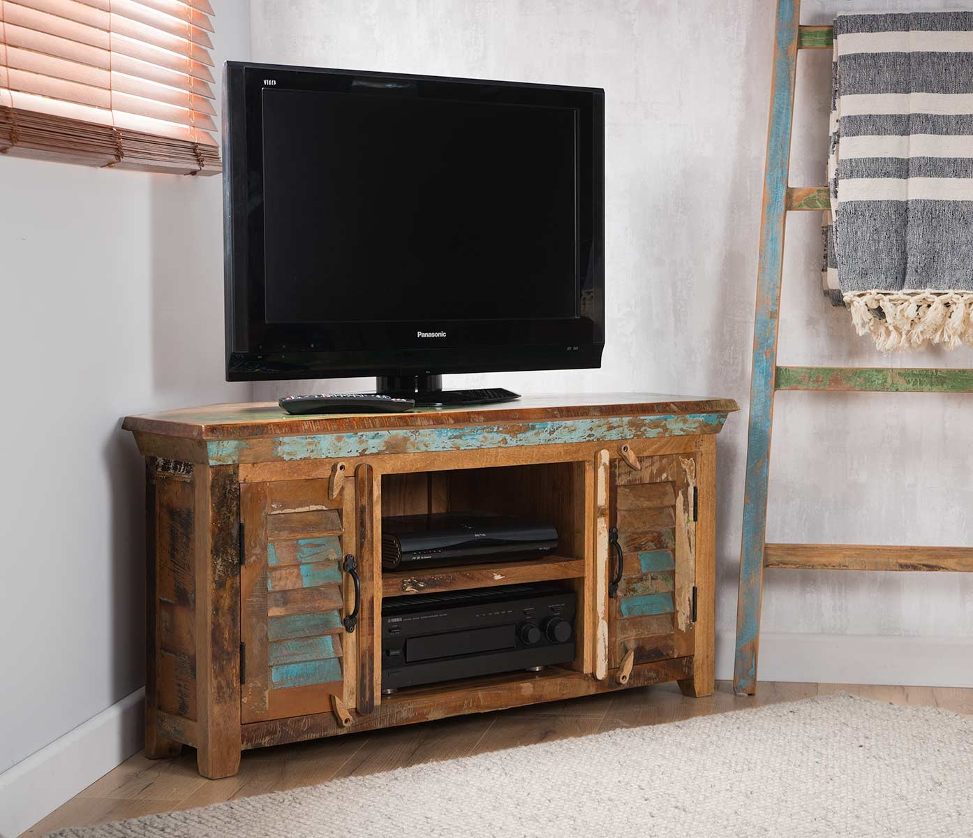 Reclaimed Indian Large Corner Tv Unit Casa Bella Furniture Uk