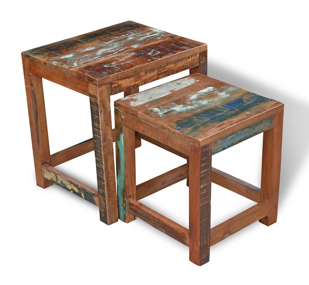 Reclaimed Indian Nest Of 2 Tables Casa Bella Furniture Uk